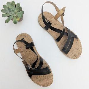 Korks By Kork-Ease Black Vegan Leather Sandals 8